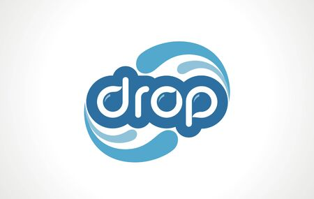 Water drop logo word. Sustainable symbol for basic resources. Blue icon of droplet, environmental fresh aqua sign, outline vector design template.