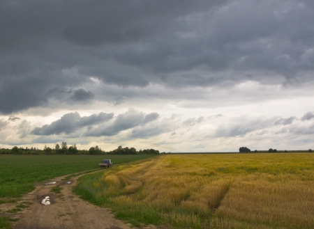 Russian countryside before a thunder-storm photo