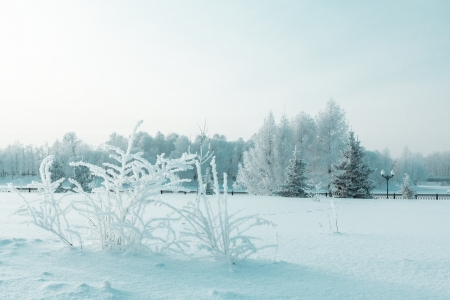 Icy winter embankment covered with snow. Russia, Yaroslavl