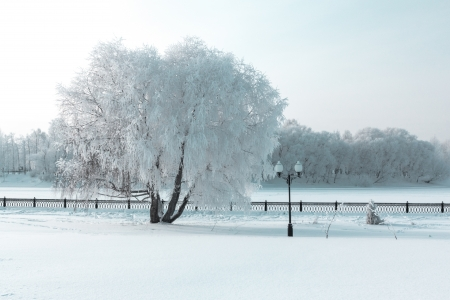 Icy winter embankment covered with snow. Russia, Yaroslavl Stock Photo - 17375952