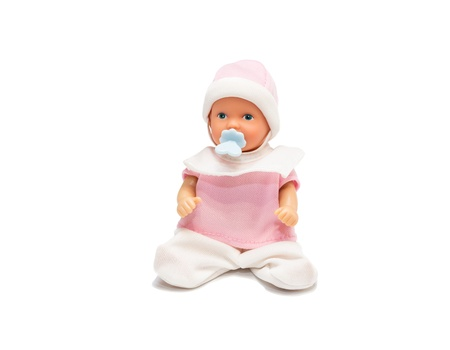 Baby doll in pink clothes isolated on white background  Studio shot Stock Photo - 18937914
