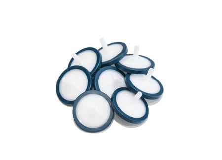 Membrane syringe filters isolated on white background  Studio shot  Stock Photo
