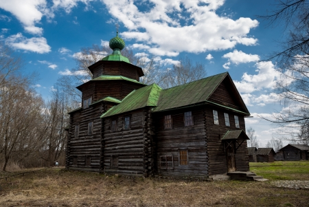 An ancient wooden timbered church in the village. Kostroma, Russia photo