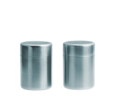 Metal salt and pepper shakers isolated on white background, studio shot, two objects photo
