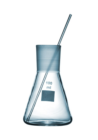 volumetric flask: Chemical conical flask with a glass rod isolated on white background