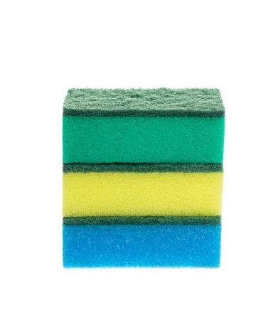 washup: Three colored sponges for dishwashing isolated on white background, studio shot