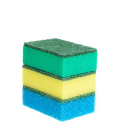 washup: Three sponges for washing isolated on white background, studio shot