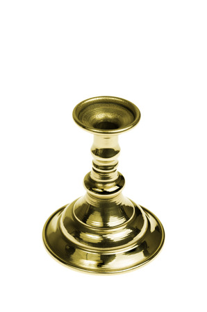 Gold plated candlestick isolated on white background, studio shot, top view Stock Photo - 26239538