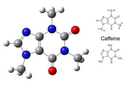 formulation: Structural model of caffeine molecule on white background, 3d illustration
