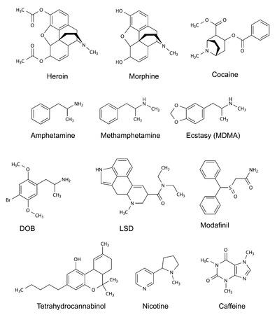 The chemical structural formulas of some drugs  heroin, morphine, cocaine, amphetamine, methamphetamine, ecstasy, dob, lsd, modafinil, tetrahydrocannabinol, nicotine, caffeine , 2d illustration, vector, isolated on white Stock Illustratie