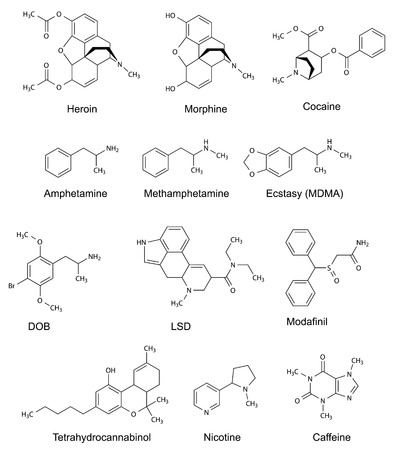 The chemical structural formulas of some drugs  heroin, morphine, cocaine, amphetamine, methamphetamine, ecstasy, dob, lsd, modafinil, tetrahydrocannabinol, nicotine, caffeine , 2d illustration, vector, isolated on white Vectores