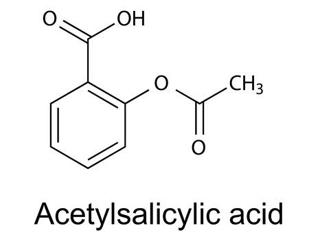 Formula chimica strutturale di aspirina acido acetilsalicilico, vettore, illustrazione 2D, isolato su sfondo bianco