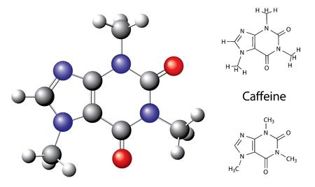 構造の化学式とカフェイン分子、ボール、在庫、3 d イラスト、ベクトル、白い背景で隔離のモデル  イラスト・ベクター素材
