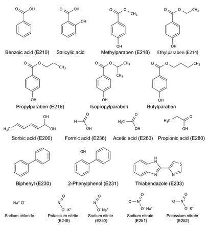 Structural chemical formulas of food and cosmetic preservatives parabens, sorbic, benzoic, salicylic, formic, acetic, propionic acids, biphenyl, o-phenylphenol, thiabendazole, sodium chloride, nitrites and nitrates , vector, isolated on white