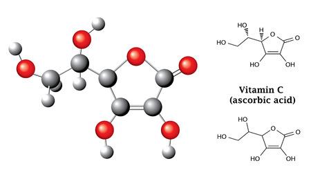 구조 화학 공식과 흰색에 고립 된 아스 코르 빈산 비타민 C, E300, balsl 스틱 2D 및 3D 그림, 벡터, 모델 일러스트