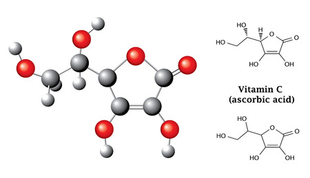 Struktur chemischen Formeln und das Modell der Ascorbinsäure Vitamin C, E300, balsl und Stöcke, 2D-und 3D-Illustration, Vektor, isoliert auf weiß Standard-Bild - 27707472
