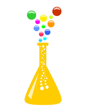 evaporation: Abstract conical chemical flask with multicolor vapor, 2D illustration, vector, isolated on white background