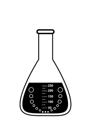 Conical graduated chemical flask with a solution, illustration, vector, isolated on white Illustration