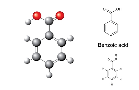 Structural chemical formulas and model of benzoic acid, illustration, vector, isolated on white
