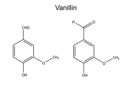 Chemical formula of vanillin molecule  flavor enhancer , 2D illustration, vector, isolated on white Vector