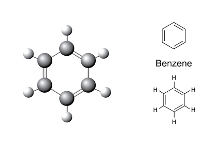 hydrocarbons: Structural formulas and chemical model of benzene molecule, Illustration, vector, isolated on white