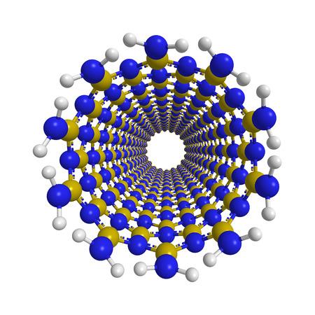 3D model of a boron nitride nanotube, front view, 3d illustration, isolated on white background, balls and sticks illustration