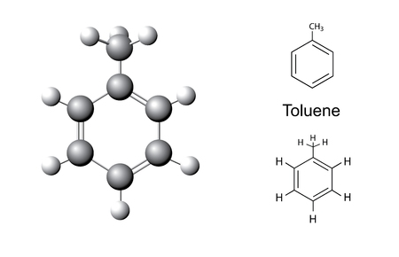 hydrocarbons: Structural formulas and chemical model of toluene