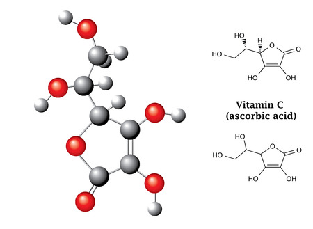 ascorbic: Model and  chemical formulas and  of ascorbic acid  vitamin C