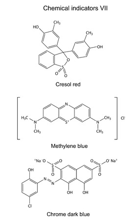 titration: Structural formulas of chemical indicators  cresol red, methylene blue, chrome dark blue , 2D illustration, vector, isolated on white background