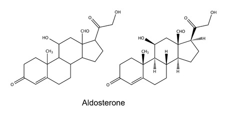 physiological: Structural chemical formulas of aldosterone Illustration