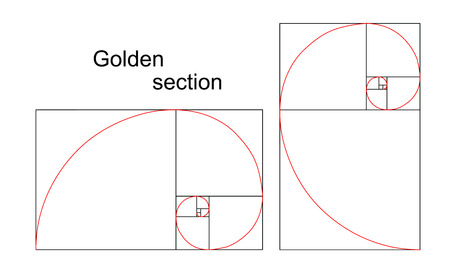 golden section: Illustration of double golden spiral  section, ratio, proportion , isolated on white background Illustration