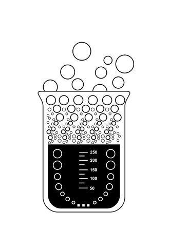 laboratory equipment: Chemical beaker  laboratory equipment  with evaporating solution, 2d illustration, isolated on white background