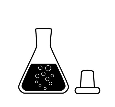 erlenmeyer: Ungraduated Erlenmeyer flask with a solution, laboratory equipment, 2D illustration, isolated on white, black and white