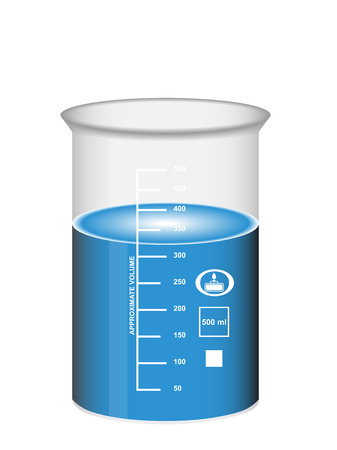 Chemical beaker with blue water solution and scale, laboratory glassware, 3D Illustration, isolated on white background