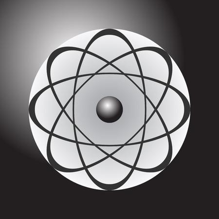 gray matter: Abstract model of the atom on dark gradient background, illustration