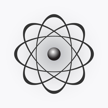 gray matter: Abstract model of the atom on light gradient background, illustration