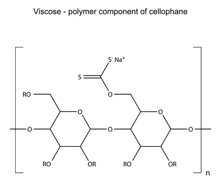 polymer: Structural chemical formula of viscose polymer, cellophane component, 2D illustration, isolated on white background