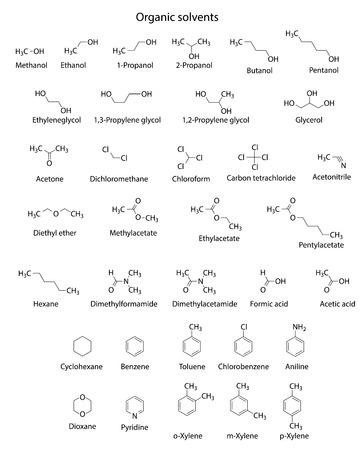 solvant: Formules structurales chimiques des principaux solvants organiques, illustrations 2d, isol� sur fond blanc Illustration