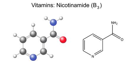 witaminy: Wzór strukturalny wzór chemiczny i nikotynamid, amid kwasu nikotynowego, witamina b3 2d i 3d ilustracji, samodzielnie na białym tle