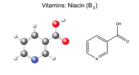 Structural chemical formula and model of niacin  nicotinic acid, b3  vitamin, 2d and 3d illustration, isolated on white background