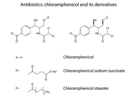 Structural chemical formulas of antibiotic  Vector