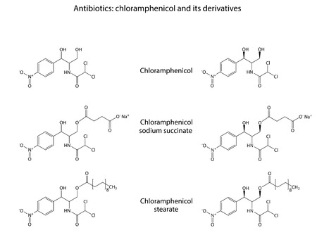 structural: Structural chemical formulas of antibiotic chloramphenicol