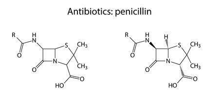 penicillin: Structural chemical formulas of antibiotic penicillin  Illustration