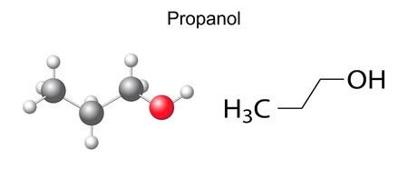 Structural chemical formula of propanol  1-propanol  molecule, 2d and 3d illustration, isolated on white background Illustration