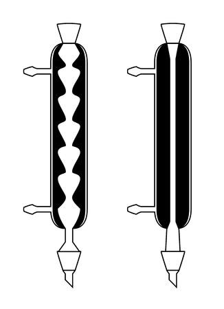 filler: Ilustraci�n de condensadores qu�micos condensador pelota y Liebig, aislado en fondo blanco, ilustraci�n 2D Vectores