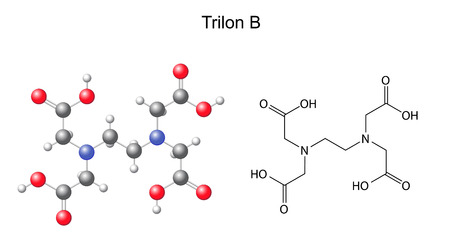 incrustation: Structural chemical formula of  trilon B - EDTA, 2d and 3d illustration, isolated on white background