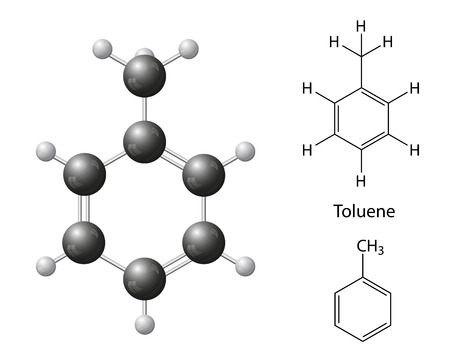 toxicant: Structural chemical formulas and model of toluene molecule, 2d   3d Illustration, isolated on white background, balls   sticks