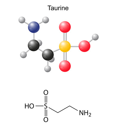 Taurine  tau  - chemical structural formula and models, amino acid, in vacuo, zwitterion, 2D and 3D illustration, balls and sticks, isolated on white background, vector, eps10 Stock Illustratie