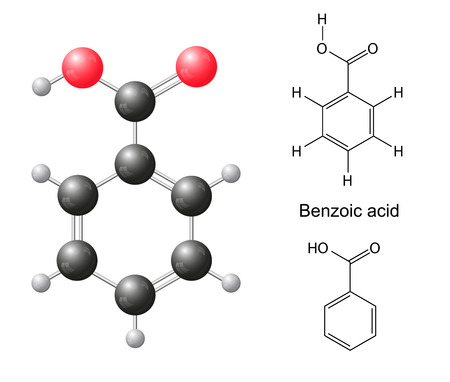 benzoic: Structural chemical formulas and model of benzoic acid molecule, 2d   3d Illustration, isolated on white background, balls   sticks, skeletal, vector