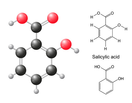 Structural chemical formulas and model of salicylic acid molecule, 2d   3d Illustration, isolated on white background, balls   sticks, skeletal, vector, eps 10 Illustration